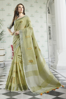 Olive embroidered linen saree with blouse