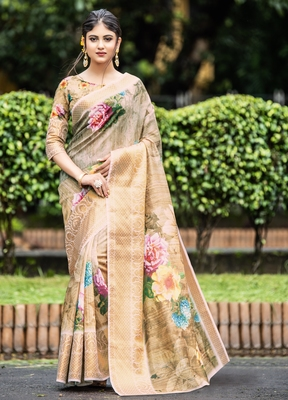 Multicolor embroidered organza saree with blouse
