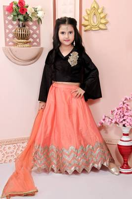 Peach embroidered cotton silk