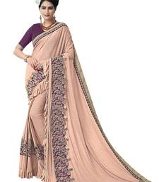Light purple embroidered lycra saree with blouse