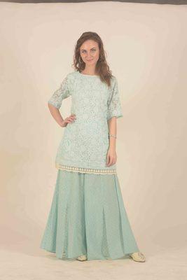 Rina Dhaka blue chikankari floral work deatil in kurta with flair slit pants