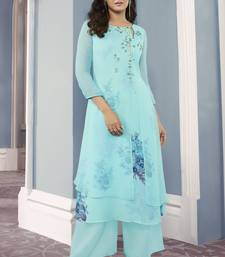 turquoise Georgette Exclusive Sarvoski work top with palazzo