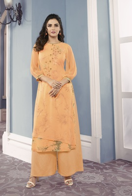 yellow Georgette Exclusive Sarvoski work top with palazzo