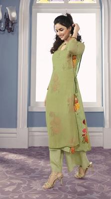 Green Georgette Exclusive Sarvoski work top with palazzo