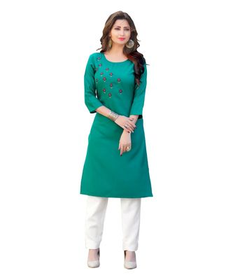 Turquoise Cotton Straight Kurti