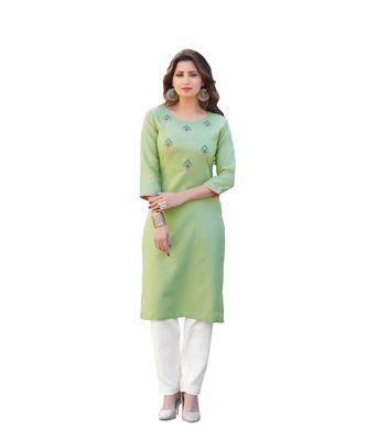 Green Cotton Straight Kurti