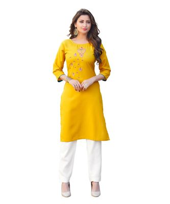 Yellow Cotton Straight Kurti