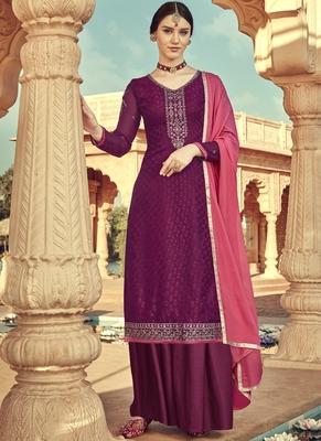 Wine Viscose Brasso Embroidery Salwar Suit