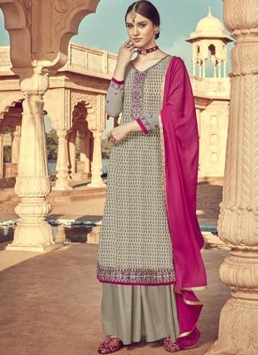 Dark Beige Viscose Brasso Embroidery Salwar Suit
