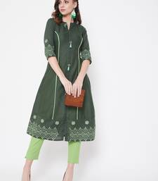 Dark green embroidered cotton kurtas-and-kurtis