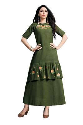 Green embroidered cotton ethnic-kurtis