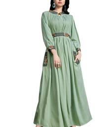 Sea-green embroidered cotton ethnic-kurtis