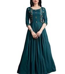 Blue embroidered cotton ethnic-kurtis