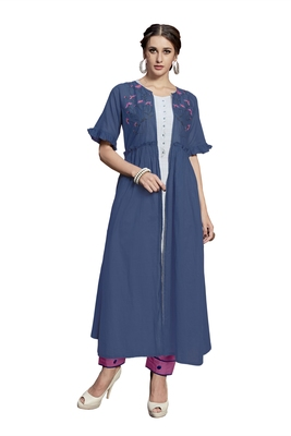 Blue embroidered crepe ethnic-kurtis