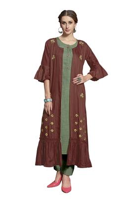 Brown embroidered crepe ethnic-kurtis