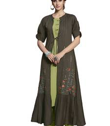 Dark-grey embroidered crepe ethnic-kurtis