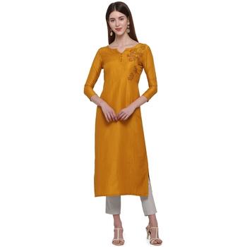 Gold printed cotton ethnic-kurtis
