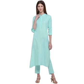 Turquoise printed cotton ethnic-kurtis