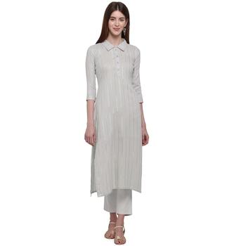Off white printed cotton ethnic-kurtis