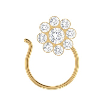 Designer Classic Floral Wedding Gold Plated Nose Ring