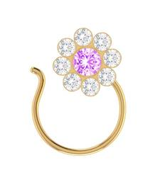 Purple Designer Classic Floral Wedding Gold Plated Nose Ring