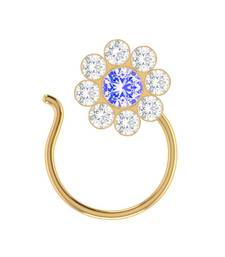 Blue Designer Classic Floral Wedding Gold Plated Nose Ring
