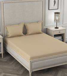 ROSARA HOME Light Beige Solid 210 TC 1 Double Bedsheet with 2 Pillow Covers