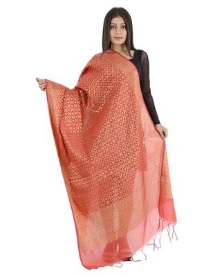 Karina Pink Women's Banarasi Kora Silk Zari Dupatta