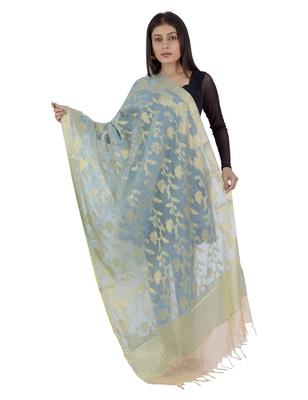 RANI Blue Women's Banarasi Kora Silk Zari Dupatta