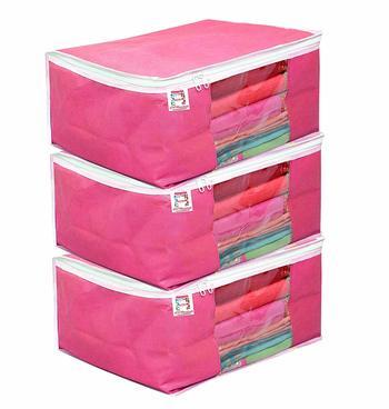 atorakushonFabric 3 Piece Saree Cover Clothes Storage Bags Garments Wardrobe Organiser (Pink)