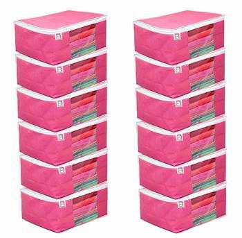 atorakushon Fabric 12 Piece Saree Cover Clothes Storage Bags Garments Wardrobe Organiser (Pink)