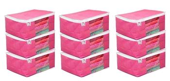 atorakushon Fabric 9 Piece Saree Cover Clothes Storage Bags Garments Wardrobe Organiser (Pink)