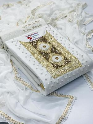 White hand embroidery cotton silk salwar