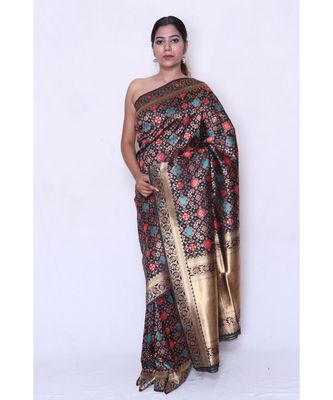 multicolor Embroidered banarasi saree with blouse