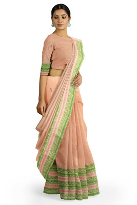 Handloom Peach Malmal Khadi Saree with Black leaf Block prints on body and Awestruck Green & Red prints on Border