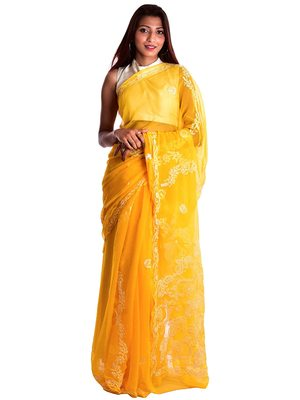 Lavangi Yellow Hand Embroidered Lucknow Chikan Faux Georgette Saree With Blouse