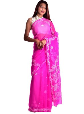 Lavangi Rani Pink Hand Embroidered Lucknow Chikan Faux Georgette Saree With Blouse