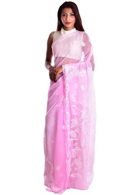 Lavangi Baby Pink Hand Embroidered Lucknow Chikan Faux Georgette Saree With Blouse