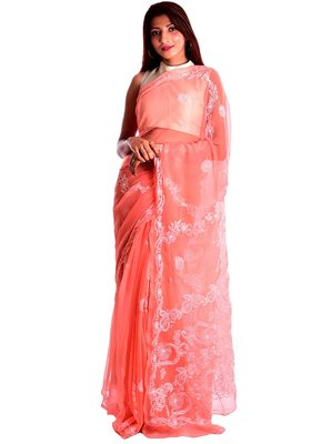 Lavangi Light Carrot Red Hand Embroidered Lucknow Chikan Faux Georgette Saree With Blouse