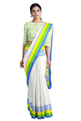 Handloom White Malmal Khadi Saree with Delightful Yellow Block Prints on Pallu with Blue, Green & Yellow thick Border