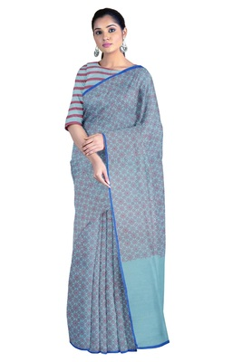 Handloom Cyan Malmal Khadi Saree with Meticulous Maroon Block Prints with Blue Border
