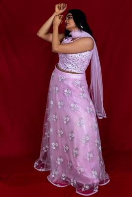 Creamy Pink crop top lehenga in net with sequin work online