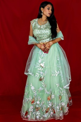 Pista green crop top lehenga with floral embroidery Online