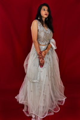 Light Grey crop top lehenga with hand embroidery online