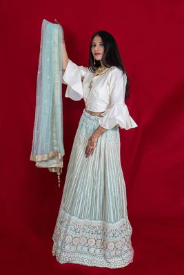 Cream designer style crop top with lucknowi lehenga online