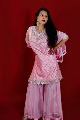 Light Pink designer sharara with heavy stone and floral embroidery online
