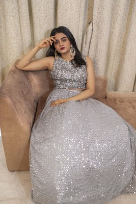 Grey crop top lehenga with heavy sequin and hand embroidery online