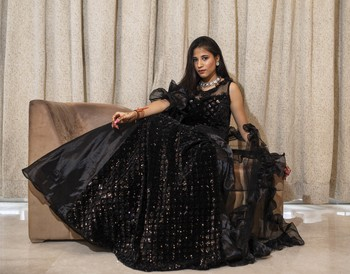 Black crop top with self sequin work and organza layered lehenga online