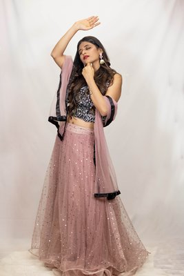 Black crop top lehenga with silver glitter work and floral embroidery online