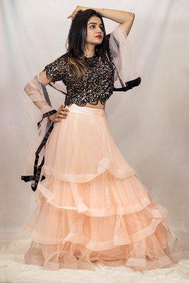 Peach Lehenga in net with black sequin crop top online
